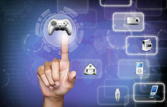 Human hand and modern technology